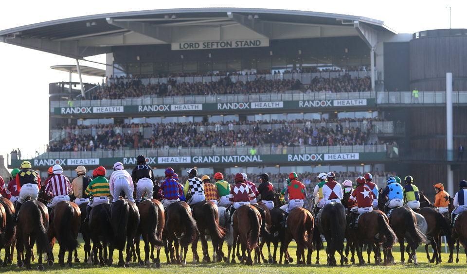 Runners at the post for the Grand National at Aintree.