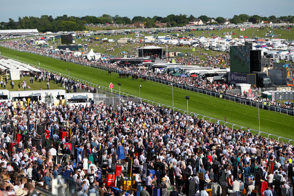 A grandstand view from Epsom Downs on Derby Day.