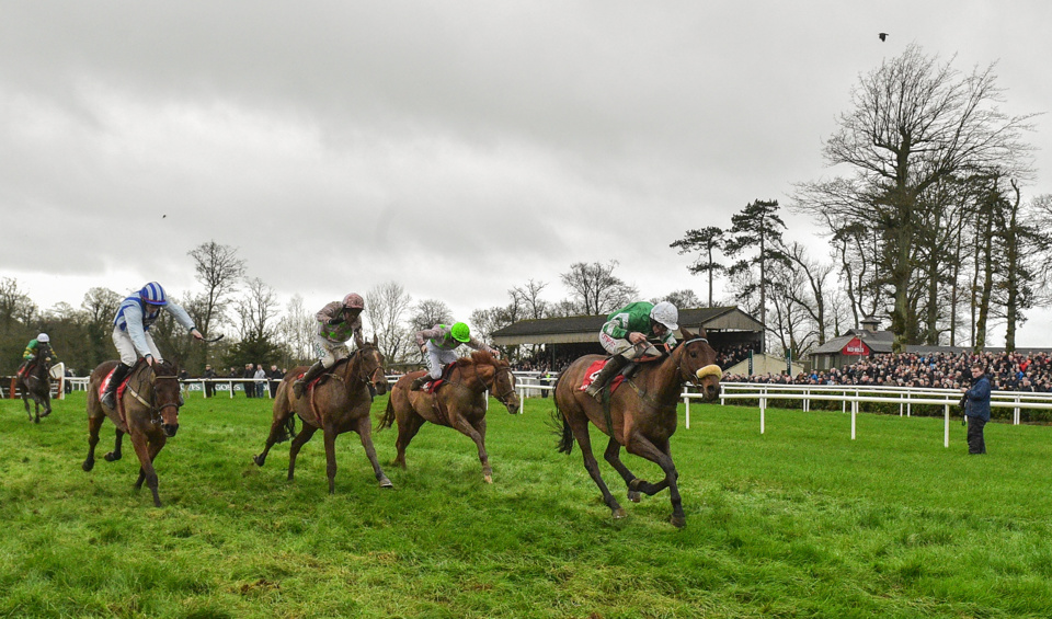 Presenting Percy (white cap) finished fourth in Saturday's Down Royal Champion Chase.